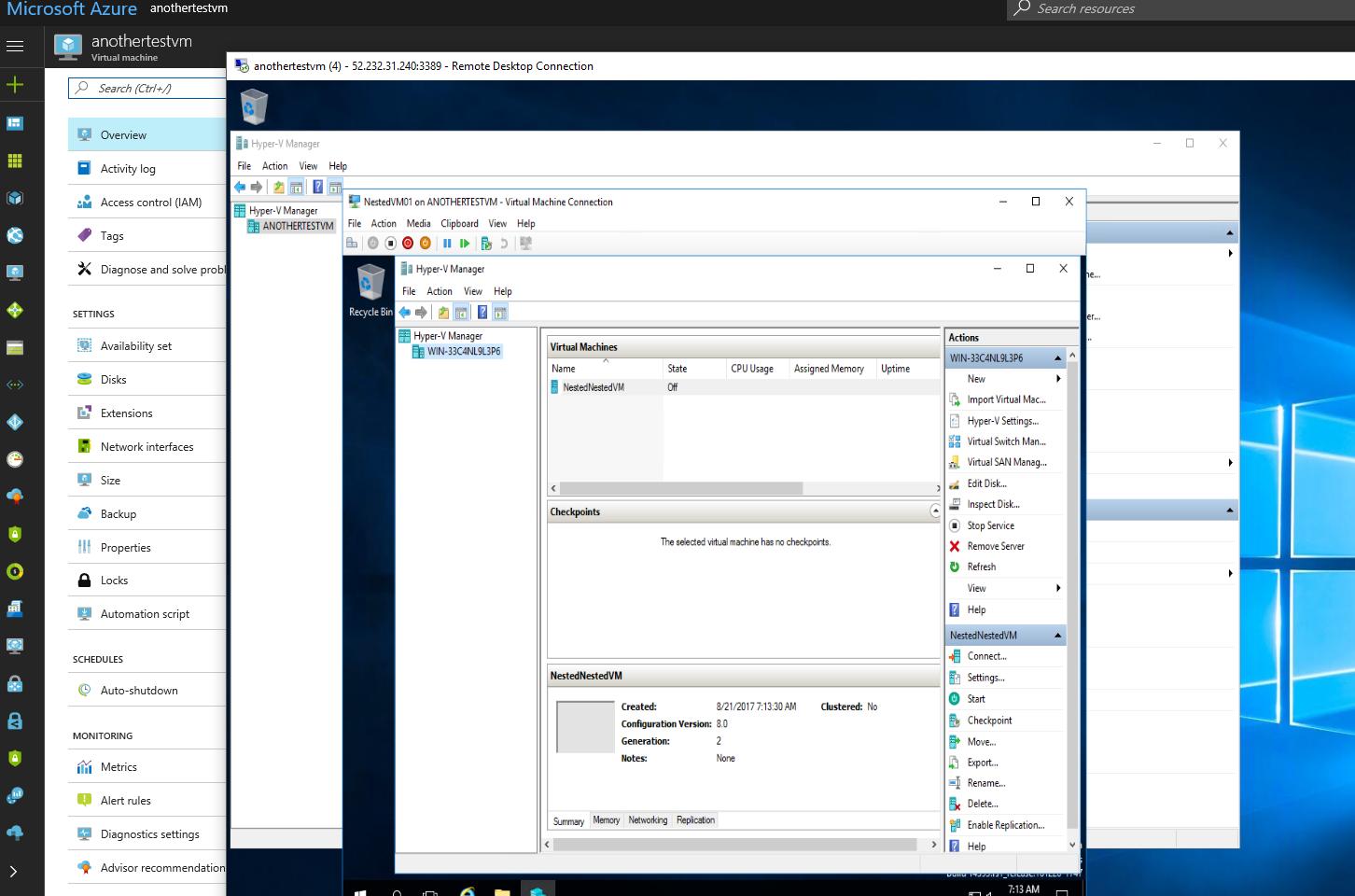 VM in Nested VM in Azure VM