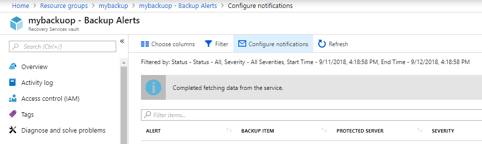 backup alert notifications