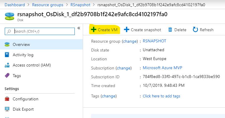 disk snapshot